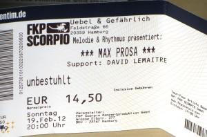 Max Prosa: Tour 2012 - Eintrittskarte